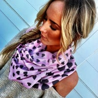 I LOVE this Scarf Hearts Infinity Scarf PINK Scarf with Grey Hearts Circle Scarf Loop Women's Fashion Accessories