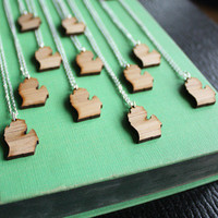 Michigan Mitten Necklace- Wooden