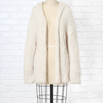 Ivory Fuzzy Hooded Cardigan