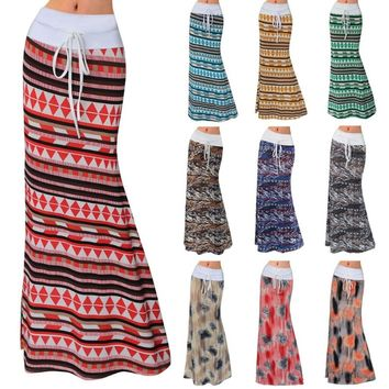 2018 New Ethnic Skirt Fashion Maxi Sexy Women's Skirt Floor Length Long Floral Printed Package Hip Skirt African Skirt for Wome