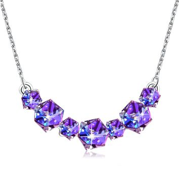 Change Color Crystal Necklace PLATO H Smiling Purple Cubic Fashion Pendant Necklace with Swarovski, Woman Girls Fashion Jewelry Necklace, Birthstorn, Birthday Gifts For Woman Girls, 18""