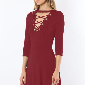 Burgundy Dawn Fit & Flare Mini Dress