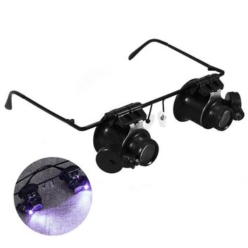 20X Double Eye Watch Repair Magnifier Glasses Loupe Lens Jeweler Watch Repair With LED Light