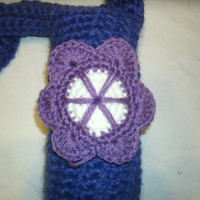 Crocheted Water Bottle Cozy with applique - Unique personalized water bottle holder -- heart, star, flower, more