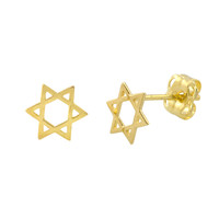 10k Yellow Gold Petite Jewish Star Stud Earrings 6mm x 6mm