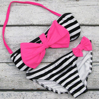 Sailor's Girl Black Striped Neon Pink Bow Bandeau Bikini