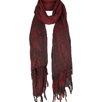 Red and Burgundy Grunge Floral Longline Scarf