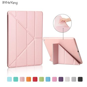 BYHeYang Soft TPU Case for New iPad 9.7 inch 2017 PU Smart Cover Case Magnet wake up sleep For New iPad 2017 model A1822 A1823