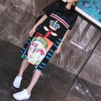 """Gucci"" Women Loose Personality Multicolor Crown Pattern Short SleeveT-shirt  Dress"