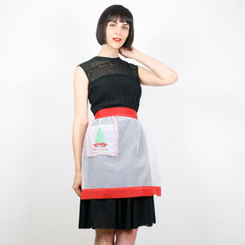Vintage Apron Half Apron Christmas Apron Waist Apron Embroidered Holiday Festive Hostess Apron Sheer Apron Red White Green Xmas Gift For Her
