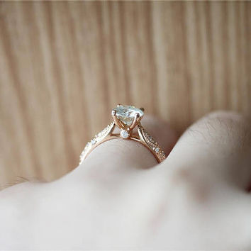 Forever Classic 14K Rose Gold Ring*6.5mm Moissanite Ring*Wedding Ring*Round Cut Moissanite Engagement Ring*Promise Ring*Anniversary Ring