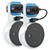 Echo Dot Holder, TUTU TECH Essential Outlet Wall Mount Hanger Stand for Amazon Echo Dot 2nd Generation with Charging Cable, Without Messy Wires or Screws, 2-Pack, White