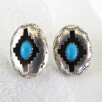 Sterling Navajo Earrings, Vintage Navajo Turquoise Pierced Earrings, Native American Jewelry