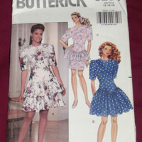 Butterick 5254 Misses Dress Semi-fitted Drop Waist Bodice Straight or Flared Skirt Size 12 14 16 Sewing Pattern Uncut DIY Fashion Design