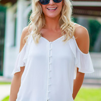 Button Up Ruffle Tank Off White