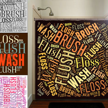 Flush Floss Brush Wash Bathroom Rules Shower Curtain bathroom decor fabric kids bath white black custom duvet cover rug mat window