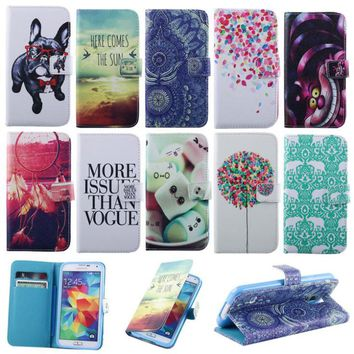 Cute Leather Case For Samsung S5 Case Wallet Book Flip Stand Style Soft TPU Cover for Samsung Galaxy S5 SV I9600 Phone Accessory