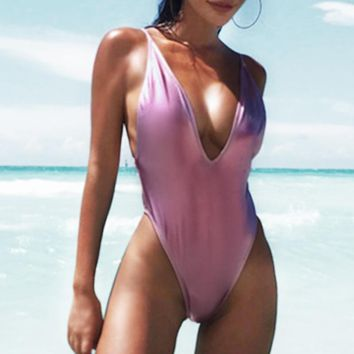 012130270c Gold Metallic One Piece Swimsuit Womens Push Up Monokini Deep V