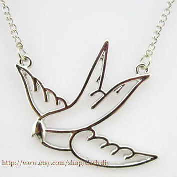 Big swallow bird necklace - silver and gold plated pendant - songbird jewelry by hand