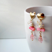 Pink earrings, Pink Coral and Crystal earrings, Heart earrings. Handmade. Swarovski crystals. Gold heart