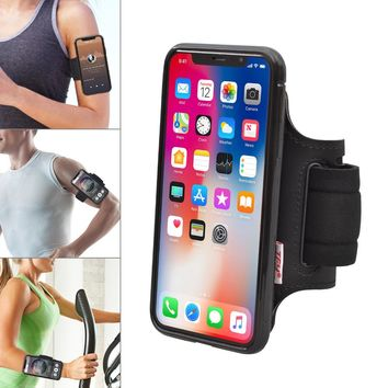 TFY Open-Face Sport Armband Wrist Band Holder + Detachable Case Cover for iP hone X