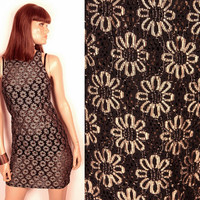90s sheer lace dress // gold and black
