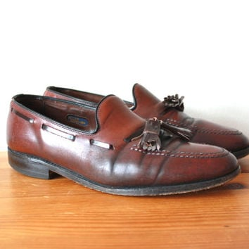 SALE Allen Edmonds Oxblood Loafers Vintage Dress Shoes with Tassles and Braiding Gift For Him Mens 7.5