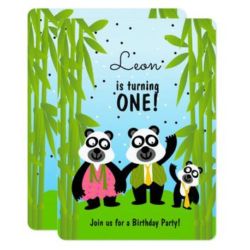 Panda bear boy birthday party invitation
