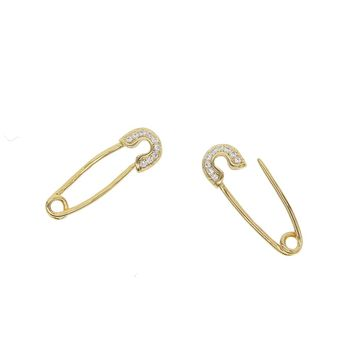 Free Shipping fasthion girly Party Punk Personality Safety Pin Puncture Earring gold color simple delicate tiny earring stud