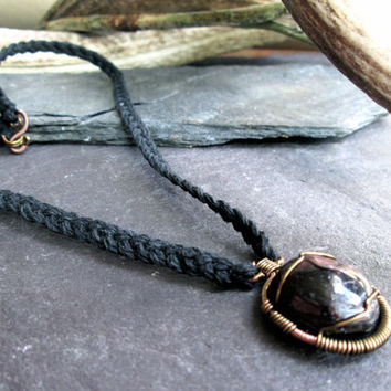 Garnet Necklace Wire Wrapped Bronze Pendant on Celtic Braided Black Hemp, Earthy Natural Unisex Necklace, Pagan Heathen Wicca, Red Crystal