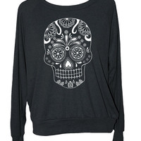 Womens SUGAR SKULL sweatshirt -- american apparel S M L -- (5 Color Options) z