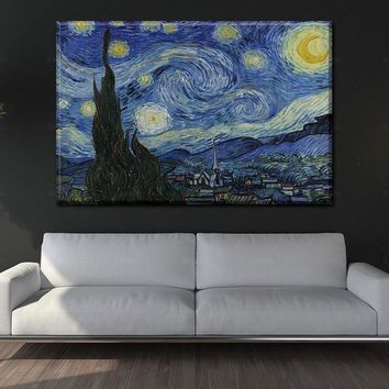 Wall Art Canvas painting Picture Landscape On Canvas The Starry Night From Van Gogh the painting on the wall picture home decor
