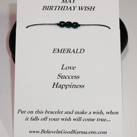 May Birthday Wish Bracelet or Anklet - Emerald - Happy Birthday Gift