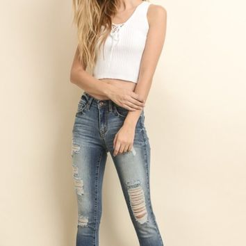 YOLO Jeans Distressed Skinny Jeans