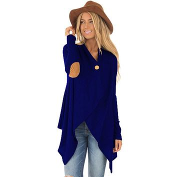 2018 Oversized ZANZEA Spring Women Solid Button Long Sleeve Asymmetric Long Cardigan Suede Elbow Patch Jackets Casual Party Coat
