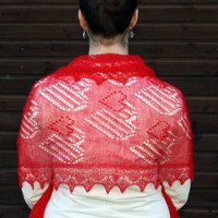 "Hand knitted fine lace red Haapsalu shawl ""Hearts"".  Ready to ship."