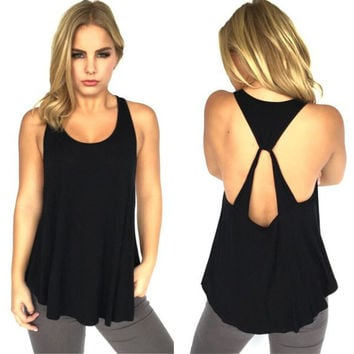 Summer Women's Fashion Sleeveless Spaghetti Strap Irregular Tops T-shirts [6343426881]