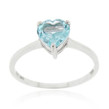 Sterling Silver Blue Topaz Solitaire Heart Ring Size 5