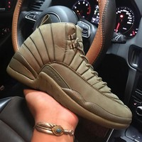 PSNY x Air Jordan 12 Retro Olive Green BOM745229 XII Men's Height Increasing Shoes Fashion Shoes Top Quality With Original Box US7-13