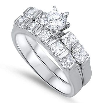 1/2 Carat 6 Prong Round Cubic Zirconia on Princess Cut Band Engagement Ring Set