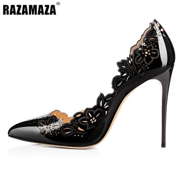 Stiletto Women Pumps Sexy Pointed Toe High Heels Shoes Woman Hollow Out Flower Office Lady Party Shoes Footwear Size 35-46 B258