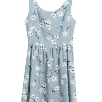 Floral Sleeveless High Waist Pleated Mini Dress