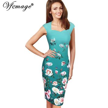 Vfemage Womens Elegant Vintage Flower Floral Print Charming Casual Party Bodycon Sheath Fitted Vestidos Pencil Dress 3012