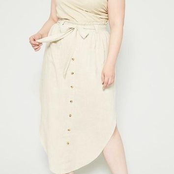 Tessa Curve Linen Blend Midi Skirt in Oatmeal