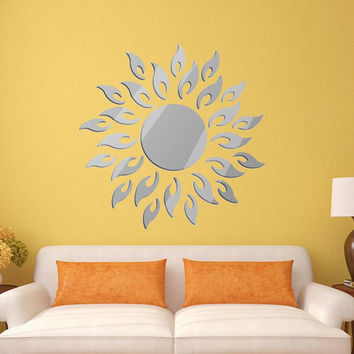 Hot Sale DIY Removable 3D Mirror Style Sun Decal Wall Sticker Home Office Bedroom Bathroom Dormitory Art Mural Decoration