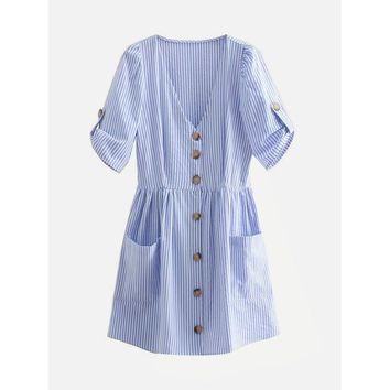 Button Through Vertical-Striped Dress