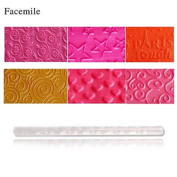 Facemile Fondant Rolling Pins Embossing Pin Cake Decoration Acrylic Dough Sugarcraft Roller Fondant Decorating 16x1cm
