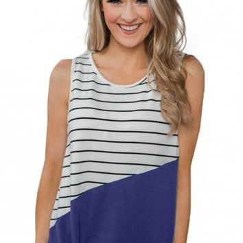 Summer Blue Time of Our Lives Striped Tank Top