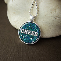 Cheer Cheerleader Necklace, Cheerleader Pendant, Cheer Mom, Cheer Coach, Cheer Team - Choose Your Team Color!
