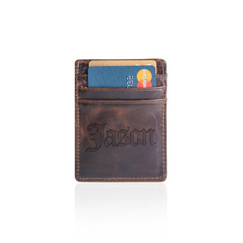 Leather Credit Card Wallet, Groomsmen Gifts, Wallets for Him, Gifts for men, Wedding party dad gift, boyfriend gift, father gift, mens gift